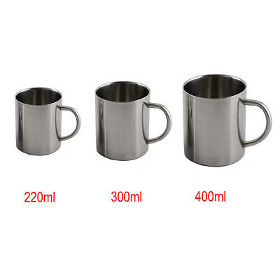 NEW Stainless Steel Double Wall Mug Outdoor Camping Coffee Tea Milk Drinking Cup