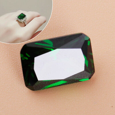 10x14mm Unheated Green Sapphire Emerald Diamond Loose Gemstone Necklace Ring Dec