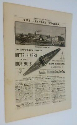 1887 Stanley Iron Works Hinges, Puzzle Key Ring, Steel Toe Calks RARE Orig.Ads
