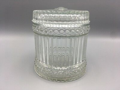 Vintage Avon Ribbed Glass Vanity Jar and Lid A81 Powder Art Deco Limited Edition