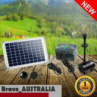 Solar Powered Water Pump 10W for Pond or Fountain With Battery LED Light & Timer