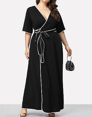 f788cfc69a Plus Size Contrast Binding Self Belted Wrap V Neck Elegant Dress Casual  Party