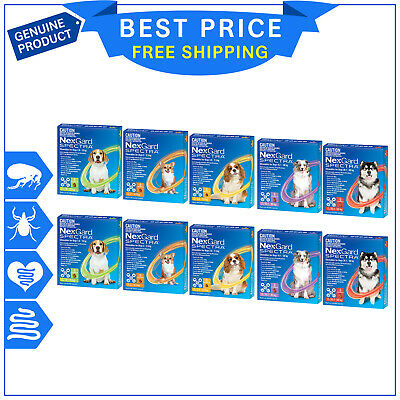 NexGard SPECTRA for Dog Flea Tick Heartworm Worm treatment 12 Chews (6 pack X 2)