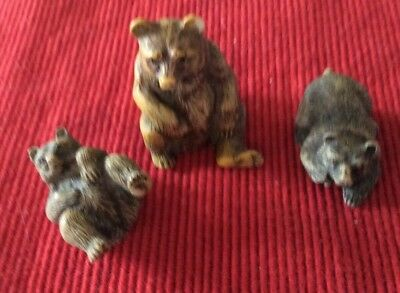 Set Of 3 Brown Bear Family Figurines