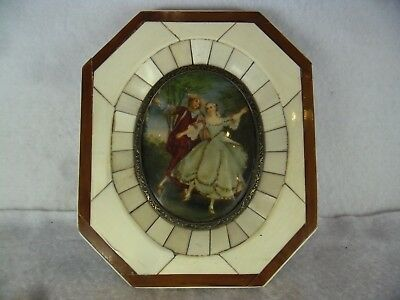 Late 18th Century (after Nicholas Lancret) Bovine Bone Framed French Painting