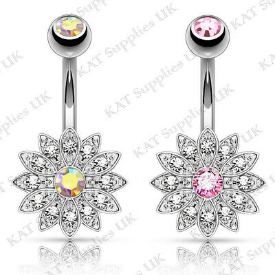 Belly Button Bar Bars Petite Paved Flower Surgical Steel Body Piercing Navel UK