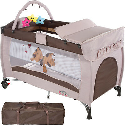 New Portable Child Baby Travel Cot Bed Playpen with Entryway coffee