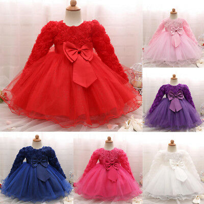 Newborn Baby Kids Girl Long Sleeve Princess Dress Party Wedding Pageant Gown UK