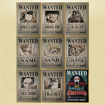 One Piece Wanted Poster [42x30cm] + Doppelseitiges Klebeband, Steckbrief Anime