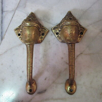 Brass Cupboard Puller Vintage Elephant Ganesha Art Door Handles Guardian Pair 2