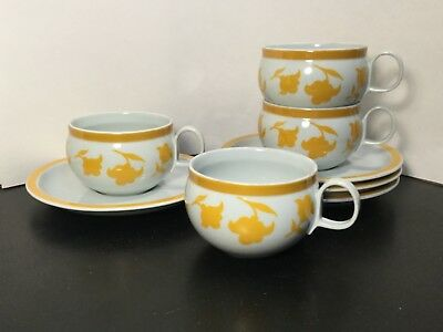 Block - Hearthstone - Vista Alegre - Ginger - Flat Cup & Saucer Sets - FOUR - 4