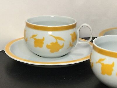 Block - Hearthstone - Vista Alegre - Ginger - Flat Cup & Saucer Sets - TWO - 2