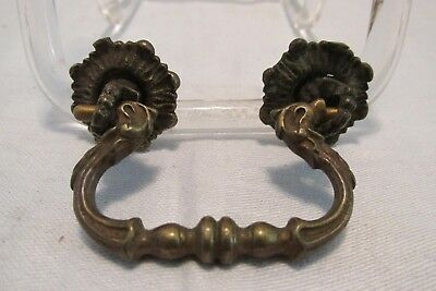 """Vintage French DRAWER PULL Handle Solid Brass Highly Embossed 2.75""""Lg1.75""""Center"""