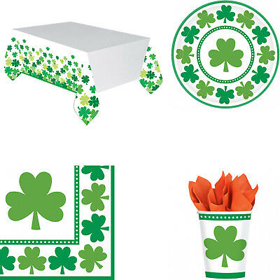 St Patrick's Day Shamrock Tableware - Tablecover, Plates, Cups & Napkins