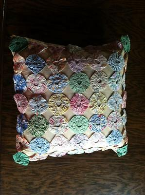 Antique pillow and cover 12X12 Vintage 1940's Yo Yo old great shape