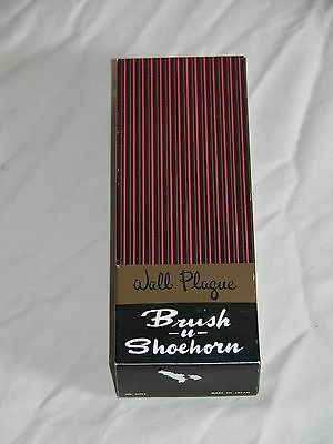 Vintage Horse Shoe Horn and Brush and Wall Plaque #6002 Includes Original Box
