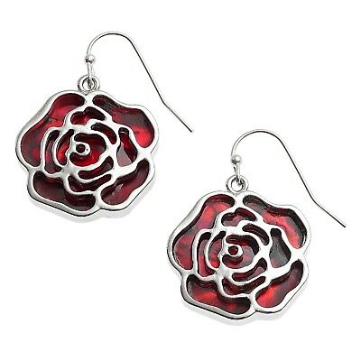Red Rose Earrings Paua Abalone Shell Womens Silver Fashion Jewellery Gift Boxed