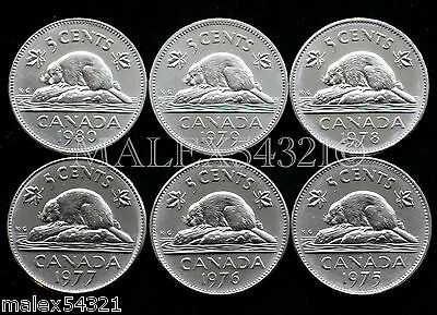 1975 1976 1977 1978 1979 1980 Canada 5 Cent Set *choice* Unc (6 Coins)