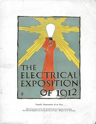 Vintage The Electrical Exposition Of 1912 Color Poster Page Ny Edison Company