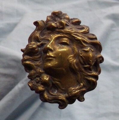 "10"" Long Hatpin With Beautiful Brass Face of a Woman ~ Estate Find!"