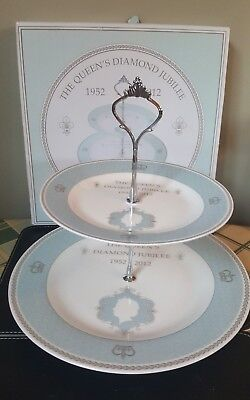 Fine China 2-Tier Cake Plate Stand - Queen's Diamond Jubilee 2012 Boxed