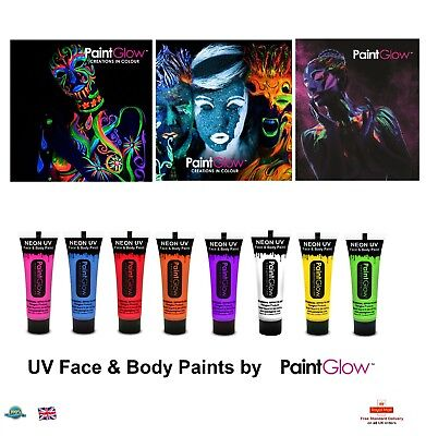 PAINT GLOW UV Neon Luminous Face Body Halloween Festival Make Up Party Night UK