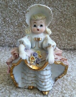 Vintage Lefton Bloomer Girl with Bonnet, Ruffles  & Flowers #KW1698