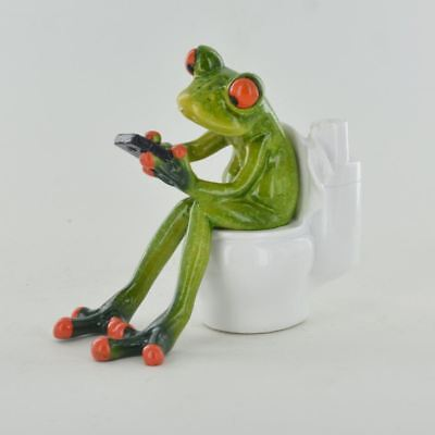 Comical Frogs - On the Toilet Small Resin Figurine Great For Home Gift