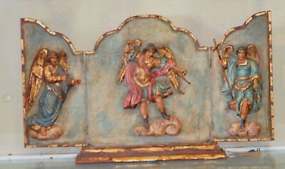 Arch Angels Wood Triptych Hand Carved & Hand Painted  Signed