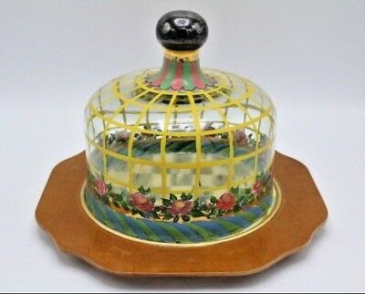Vintage Mackenzie Childs Hand Painted Glass Dome & Painted Cheese / Cake Charger
