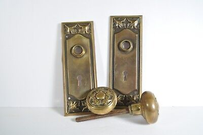 Antique Fancy Victorian Door Knob Set With Backplates Leaves Oak Maple