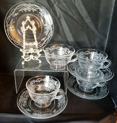 Fostoria Glass - June Cup and Saucer - Clear Etched - 4 Available - #279 - Exc!