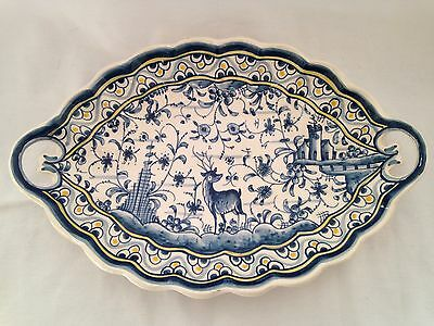 Ceramica Blue White Yellow Hand-Painted Tray Deer Coimbra Pottery Portugal