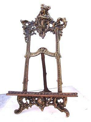 "VINTAGE BRASS ORNATE VICTORIAN DISPLAY EASEL 19""h x 12""w Art Nouveau -Victorian"