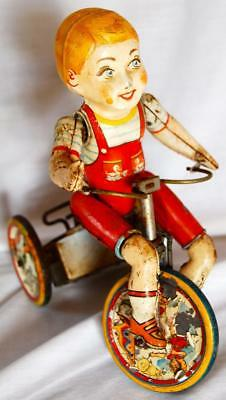 Vintage Antique KIDDY CYCLIST Tin Litho Toy Unique Art Mfg Co Inc Wind-up Child