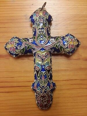 "Antique French Champleve Enamel  Two Sided 5.25"" Cloisonne Cross / Crucifix"