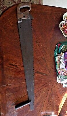 """Vintage crosscut saw SUPERIOR WARRANTED 1 or 2 man 36"""" blade    SIGNED & DATED"""