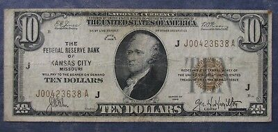 1929 Federal Reserve Bank KANSAS CITY $10 National Currency Note