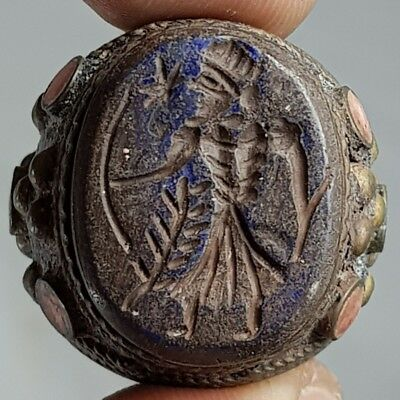 Medieval Old Lapis lazuli stone bronze Unique Ring   # z2