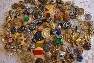 ANTIQUE VICTORIAN TO 1930's VINTAGE BUTTONS ~ GLASS, METAL, CELLULOID, BAKELITE