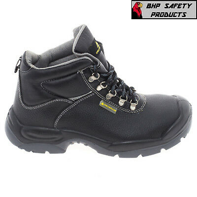 Men's Steel Toe Work Boot Safety Shoe Leather Cap Midsole Sizes 7-14 (1 Pair)