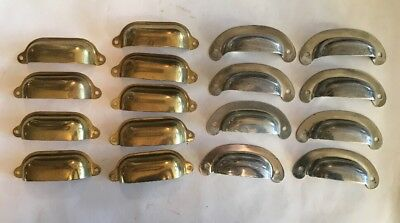 Lot of 17 Stamped Bin Pulls, Brass Tone and Nickel