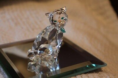 Miniature 2 inch crystal cat with blue bow tie