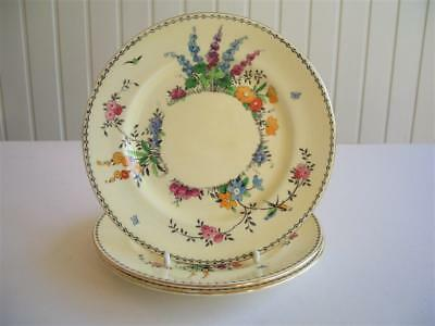 Crown Staffordshire 3 Yellow Handpainted Flower Side Plates - Round