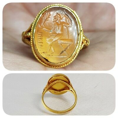 ANCIENT ROMAN 22K GOLD RING WITH AGATE  TYCHE INTAGLIO - 2nd Century   # z2