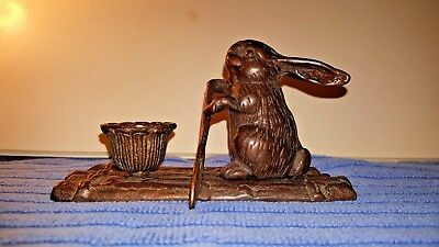 VINTAGE Brass Bunny Rabbit on Raft with Paddle and Candle Holder
