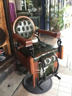 ANTIQUE Barber Chair-1920s Vintage – Green Leather