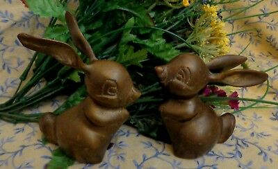Vintage Brass Bunny Rabbit Figurine Paperweights set of 2  Thumper
