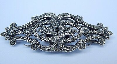 Vintage Art Deco Sterling Silver & Marcasite Brooch-Or Pair of Dress Clips