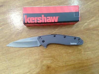 """New Kershaw Dividend 3"""" 420HC SteelBlade Gray w/Anodized Aluminum Handle 1812GRY"""